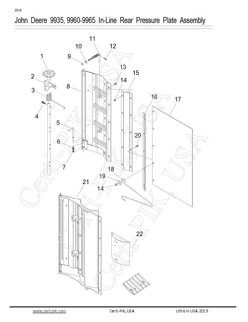 John Deere 9935, 9960-9965 In-line Rear Pressure Plate Assembly