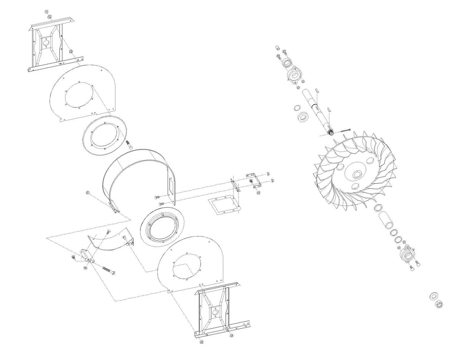 Air System: John Deere 2 Row Fan Assembly AN115233 (15233) for Sale
