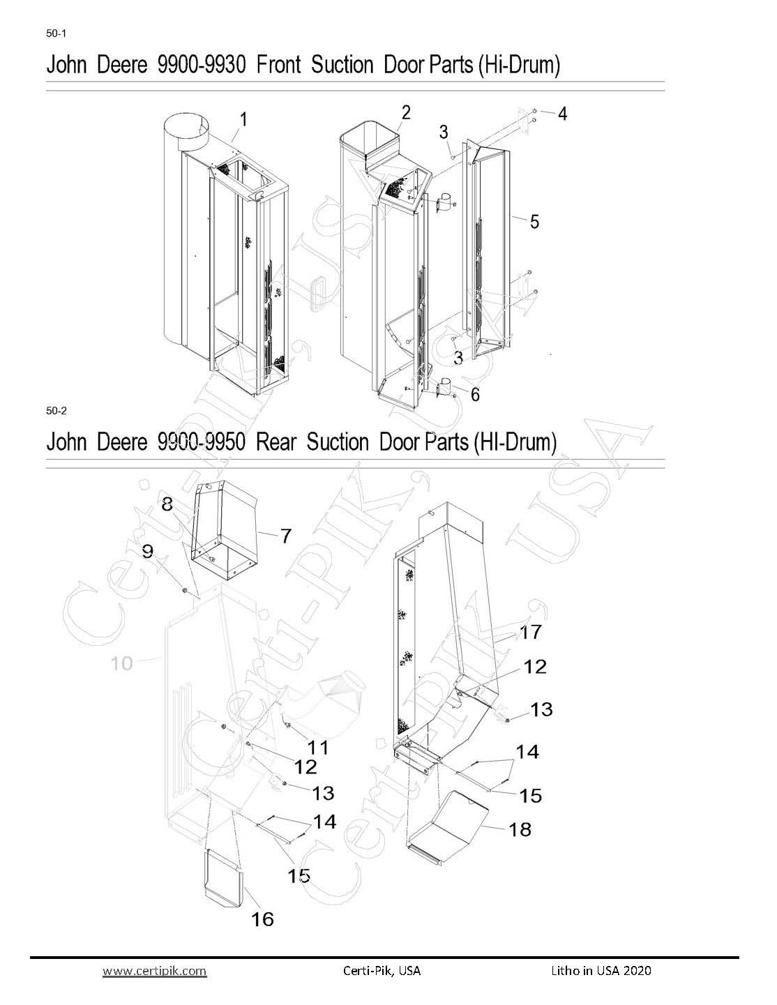 27p1 50 1 Jd 9900 9930 Front Section Door Parts (hi Drum) Page 1