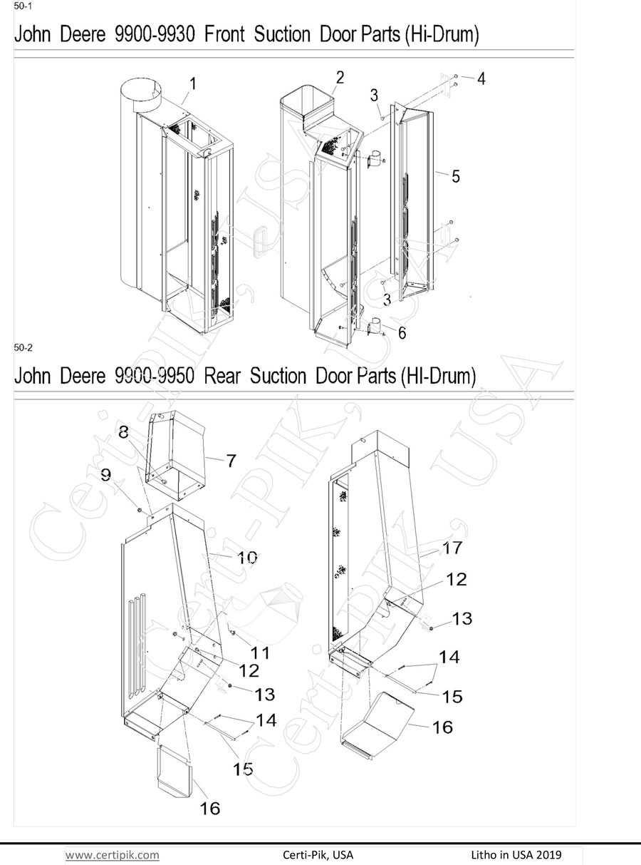 John Deere Front & Rear Suction Door Parts (Hi Drum)