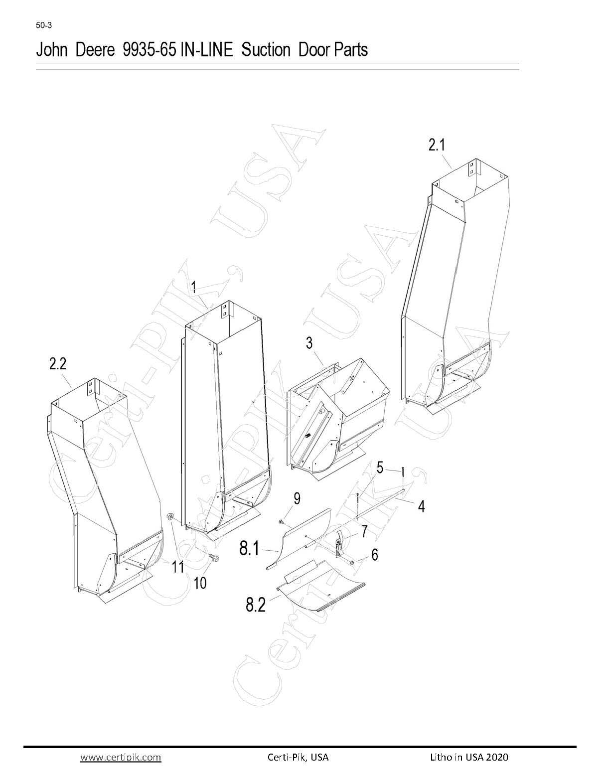 John Deere 9935-65 In-Line Suction Door Parts