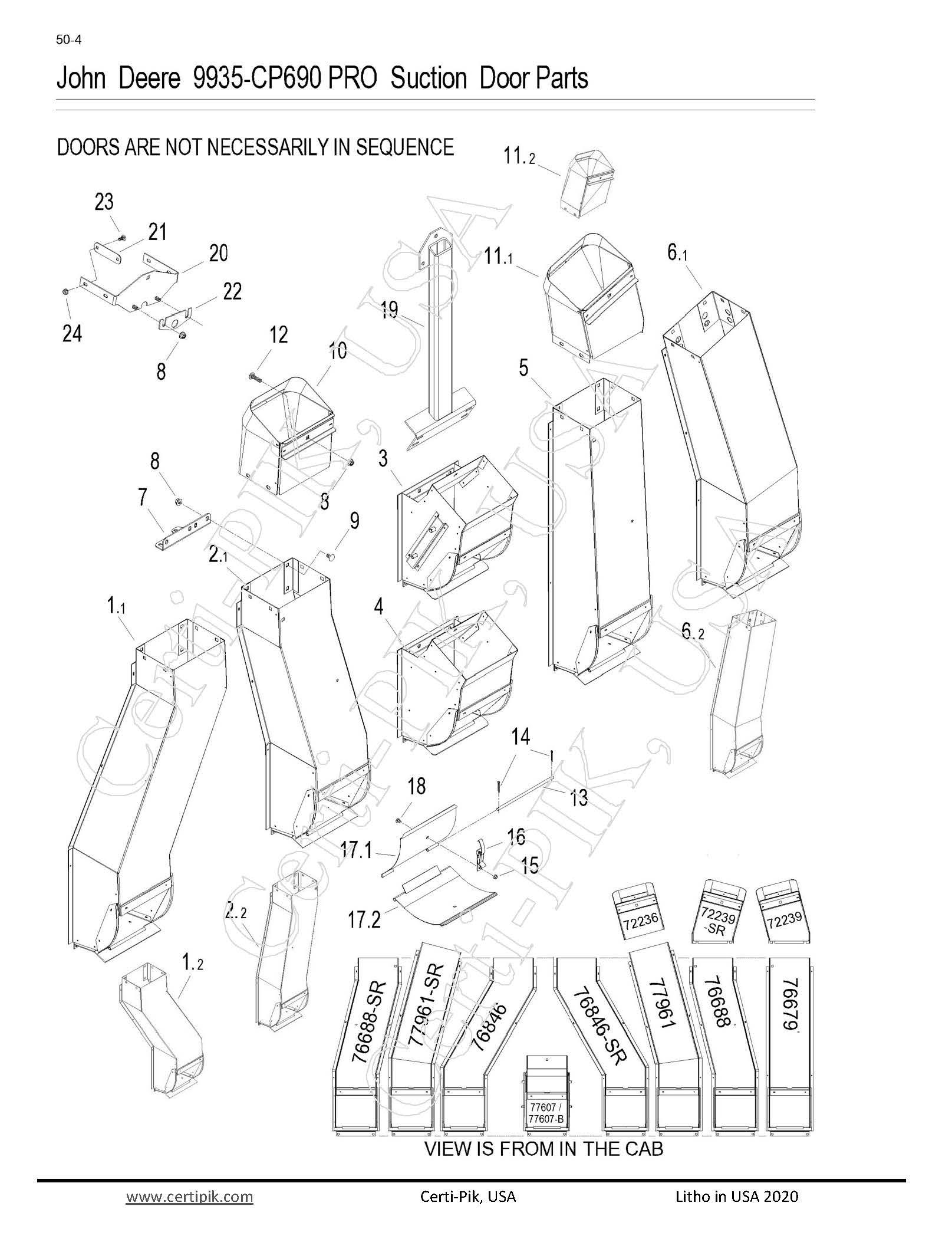 John Deere 9935-CP690 Pro Suction Door Parts
