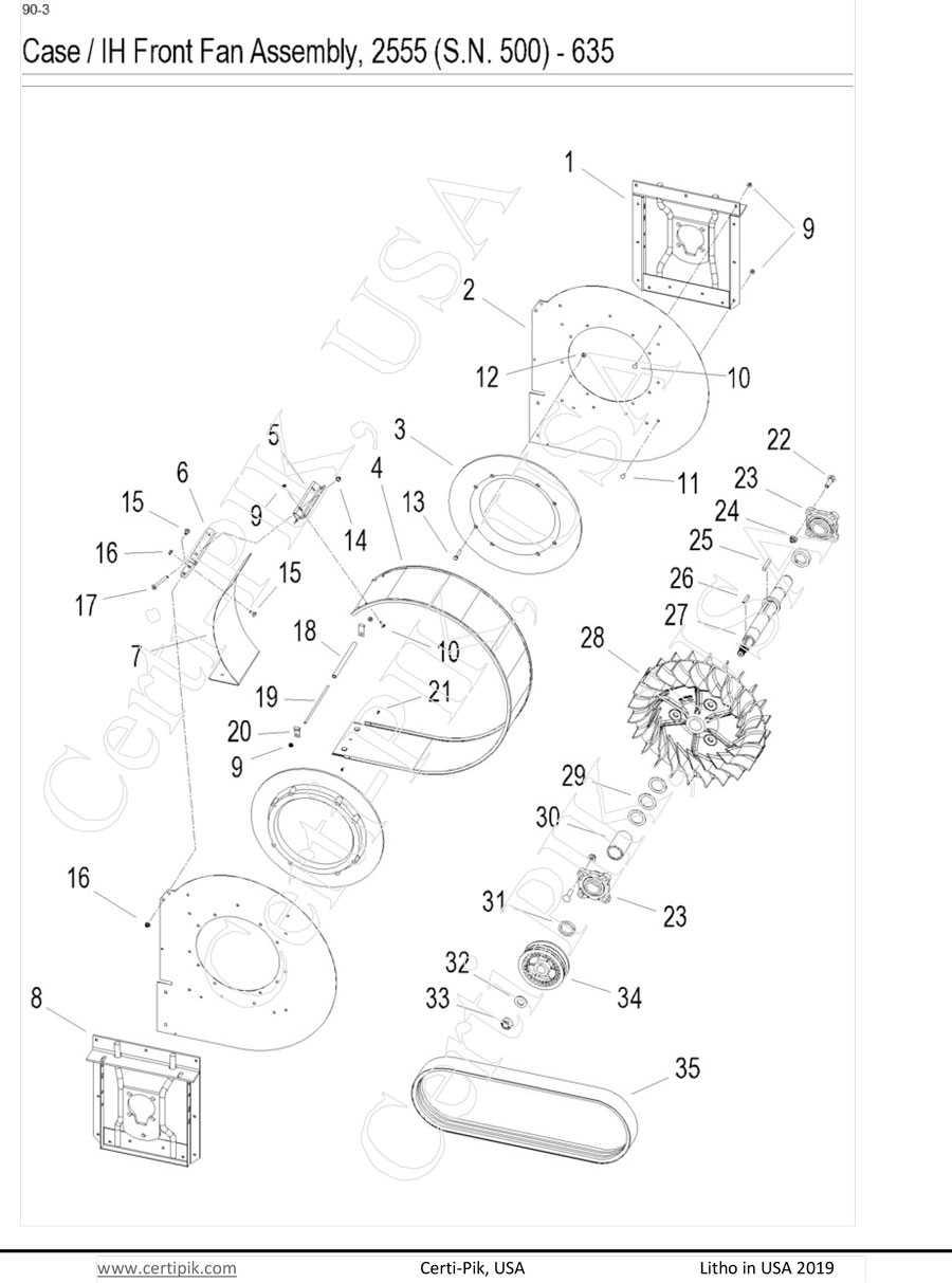 Case / IH Front Fan Assembly, 2555(S.N.500)-635 Mod Exp