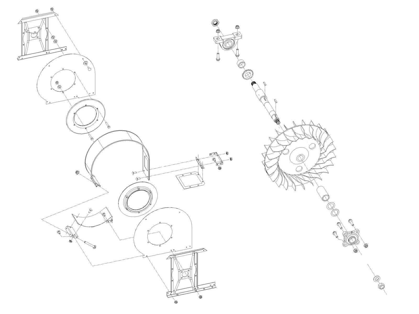 Air System: John Deere 2 Row Fan Assembly AN274106 (74106) for Sale
