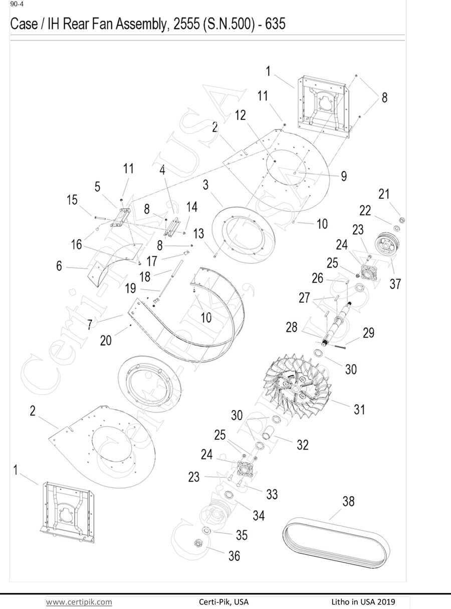 Case / IH Rear Fan Assembly, 2555(S.N.500)-635 Mod Exp