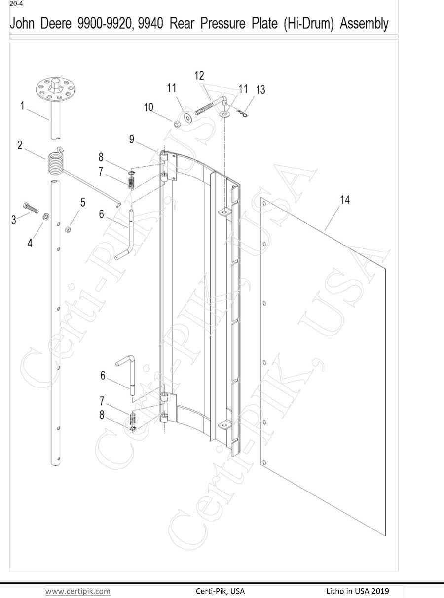 John Deere 9900-9920, 9940 Rear Pressure Plate (Hi-Drum) Assembly