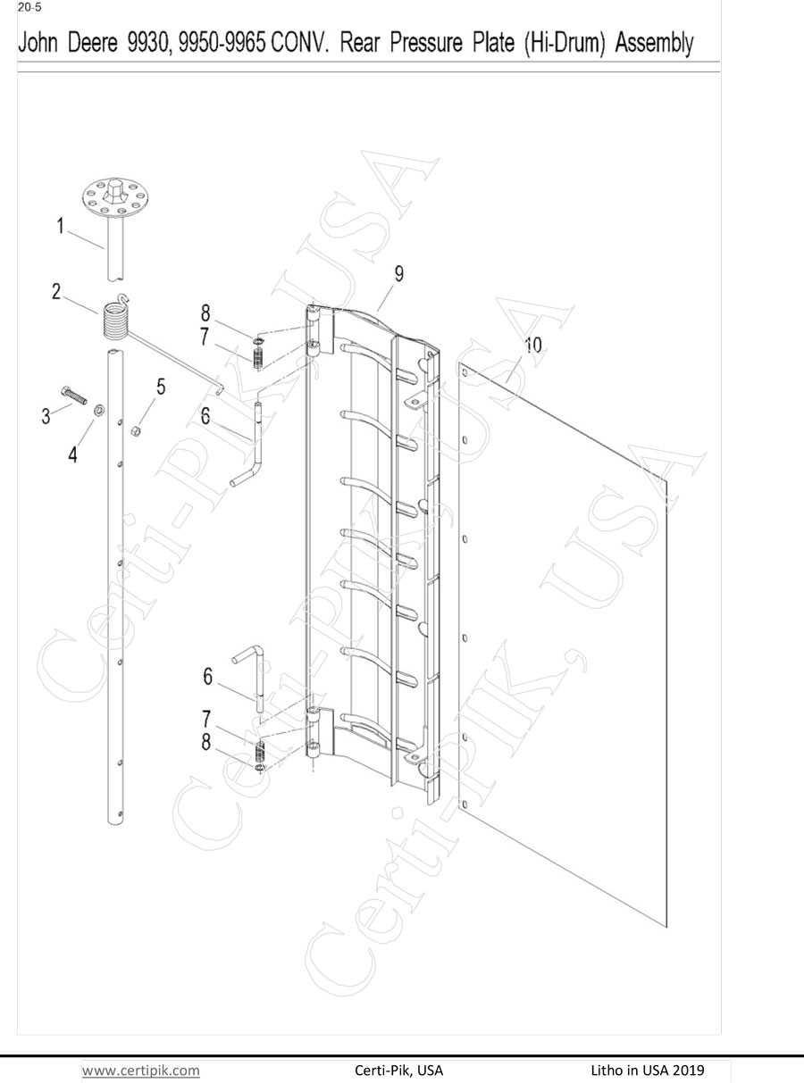 John Deere 9930, 9950-9965 Conv. Rear Pressure Plate (Hi-Drum) Assembly