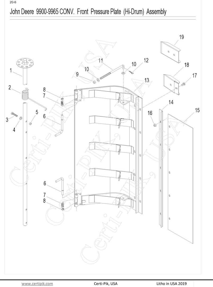 John Deere 9900-9930, 9940-950 Conv. Front (Hi-Drum) Pressure Assembly